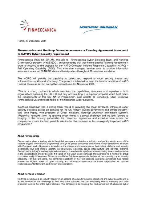 Finmeccanica And Northrop Grumman Announce A Teaming Agreement To Res…