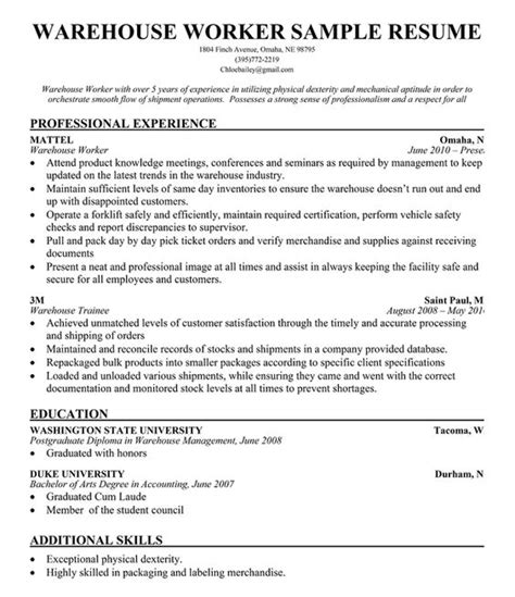 Resume For Warehouse Worker by Warehouse Worker Resume Sle Resume Companion Simply
