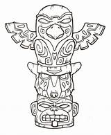 Totem Pole Coloring Pages Printable Poles Native Eagle Indian American Animal Patterns Designs Symbols Tattoo sketch template