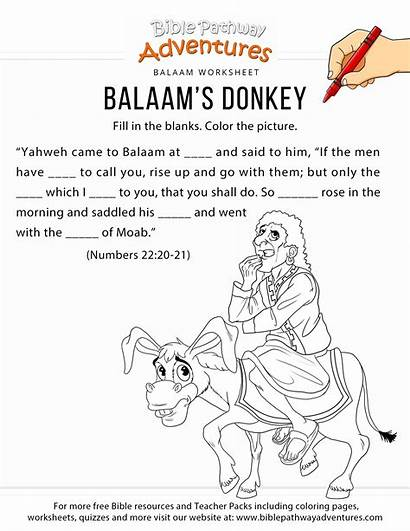 Balaam Donkey Bible Coloring Worksheet Sunday Activities