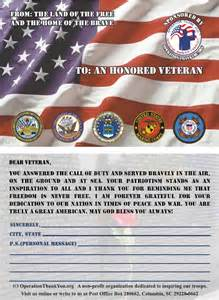 Veterans Thank You Certificate