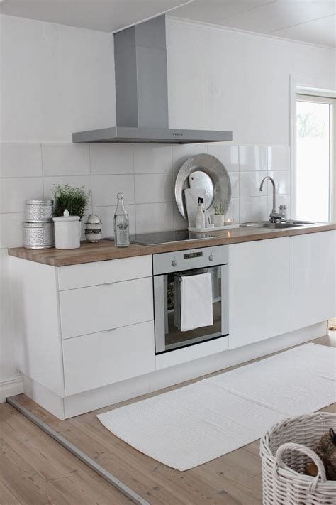 tiny white contemporary kitchen  wooden