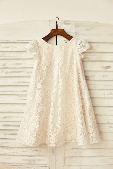Cap Sleeve Ivory Lace Champagne Lining Flower Girl  Ee  Dress Ee
