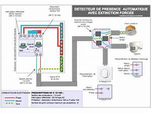 le schema electrique et le branchement du detecteur de With schema electrique eclairage exterieur