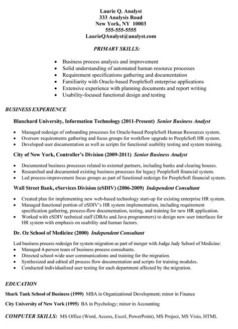 resume sle exle of business analyst resume targeted