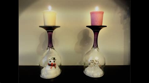 Candle Decorating With Glasses by Diy Wine Glass Decor Diy Wine Glass Winter