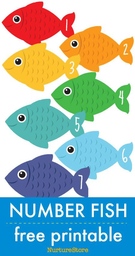 number fish  printable math counting cards