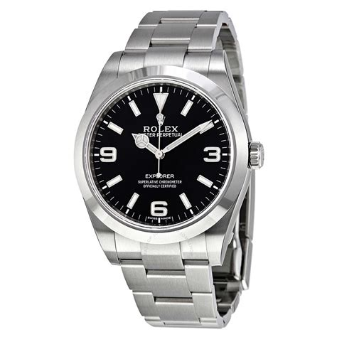 Rolex Pre-owned Rolex Explorer Black Dial Stainless Steel ...