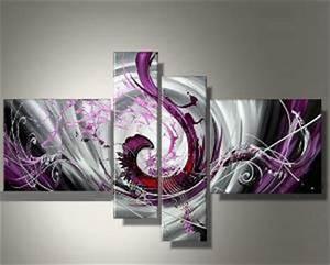 Tableau 5 Parties : tableau abstrait design fushia ~ Teatrodelosmanantiales.com Idées de Décoration