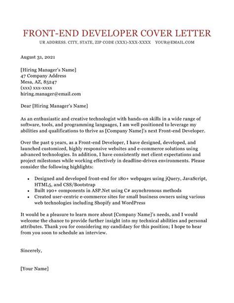 front  developer cover letter sample resume genius