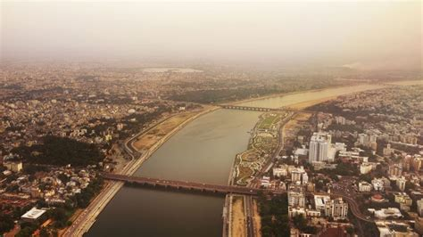 A modern day view of Ahmedabad through an aerial lens