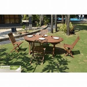 Salon Jardin Teck : salon de jardin en teck massif santorin avec 4 chaises pas ~ Melissatoandfro.com Idées de Décoration