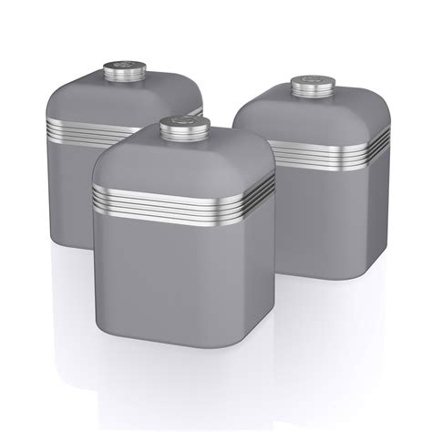 kitchen storage canister swan 3pc retro tea coffee sugar kitchen storage canisters 3131
