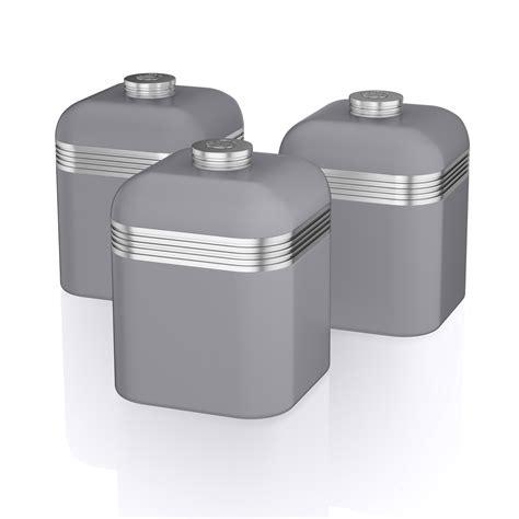 kitchen storage canister swan 3pc retro tea coffee sugar kitchen storage canisters