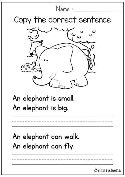 sentence writing set  copy  correct sentence