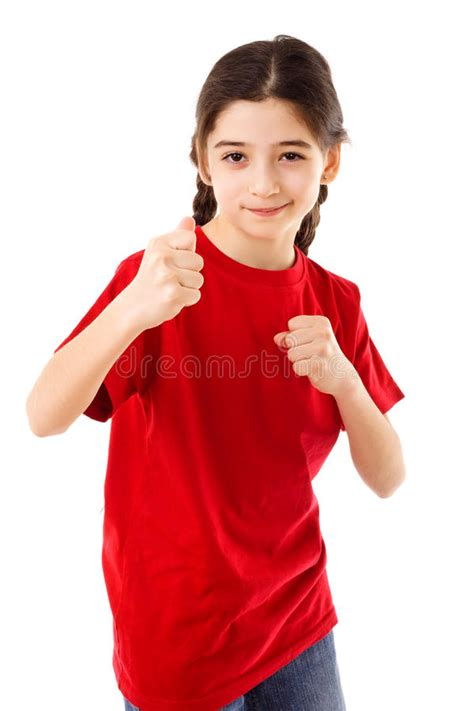 girl showing  fist stock photo image  fight hand