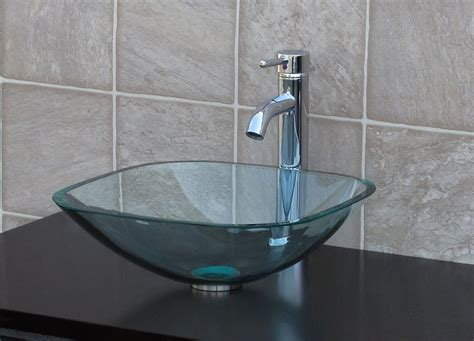 bathroom glass vessel sink clear square chrome faucet