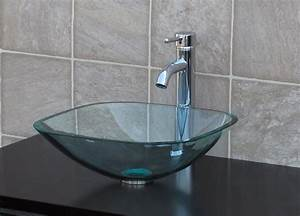 bathroom glass vessel sink clear square chrome faucet With how to clear bathroom sink drain