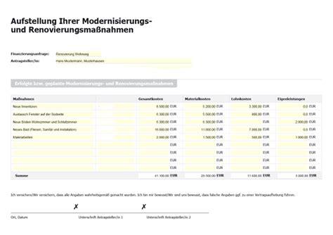 eigenleistung hausbau tabelle formular aufstellung modernisierungskosten und renovierungsma 223 nahmen