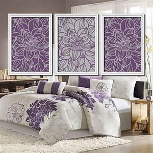 Purple gray bedroom wall art bathroom from trm design