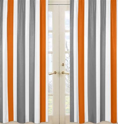 grey and orange curtains white orange and gray stripe 84 inch curtain panel pair
