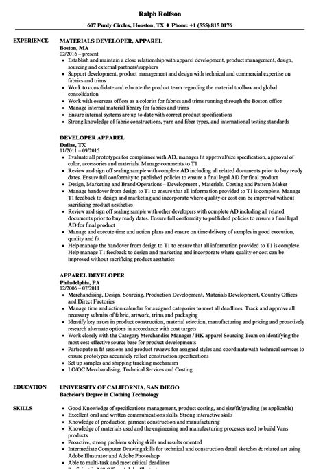 How To List Self Employment On Resume by Apparel Developer Resume Sles Velvet