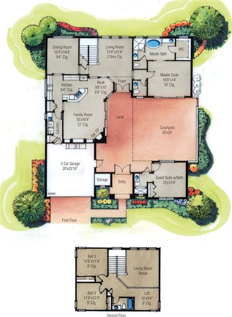 home plans  courtyard home designs  courtyard
