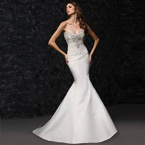 Strapless lace satin mermaid tight wedding dress in for Tight mermaid wedding dress