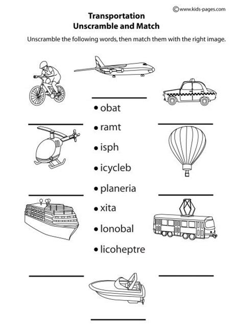 transportation unscramble b w worksheets clipart