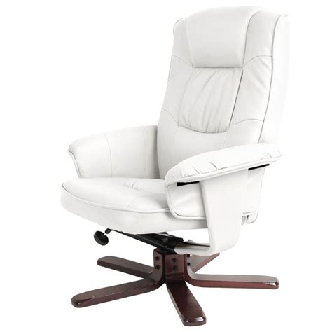 recliner chair with ottoman pu leather lounge white buy