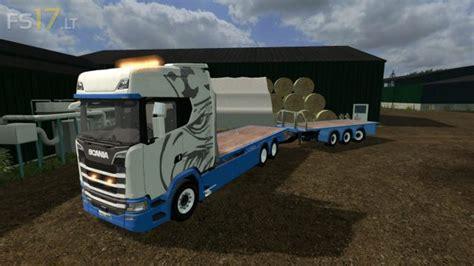 scania  flatbed flatbed trailer   fs mods