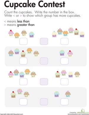 comparing cupcakes    greater  worksheet