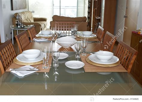 Dining Room With Table Setting Stock Image I1144625 At