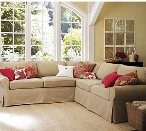 Pb basic slipcovered 2 piece l shaped sectional pottery barn for Sectional sofa bed pottery barn