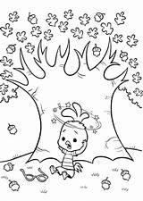 Coloring Chicken Tree Acorn Oak Disney Under Drawing Autumn Leaf Fall Sky Getcolorings Leaves Getdrawings Sheet Printable Trees Coloringsheet Coloringsky sketch template