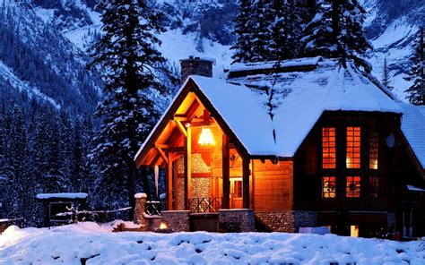 Cabin In The Snow Hd Wallpaper 935226 Log Cabinshomes