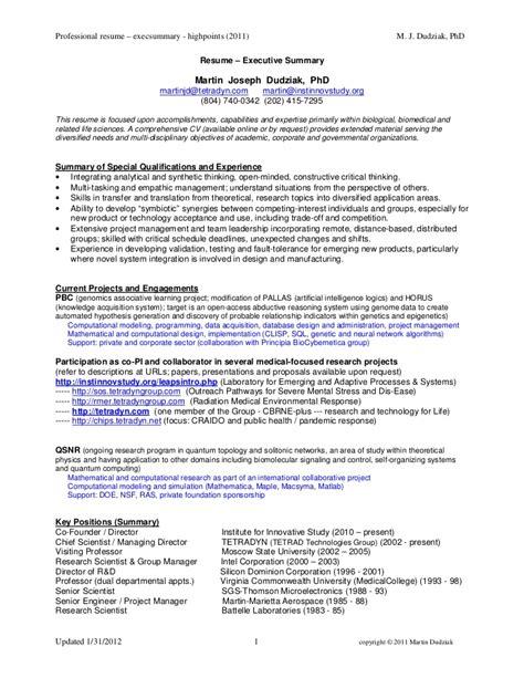 Z Resume by Martinjdudziak Biocyb Resume Execsumm July2011