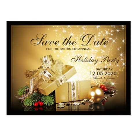 christmas party save the date templates postcard zazzle