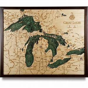 Great Lakes Wood Map Large | 3D Nautical Topographic Chart ...