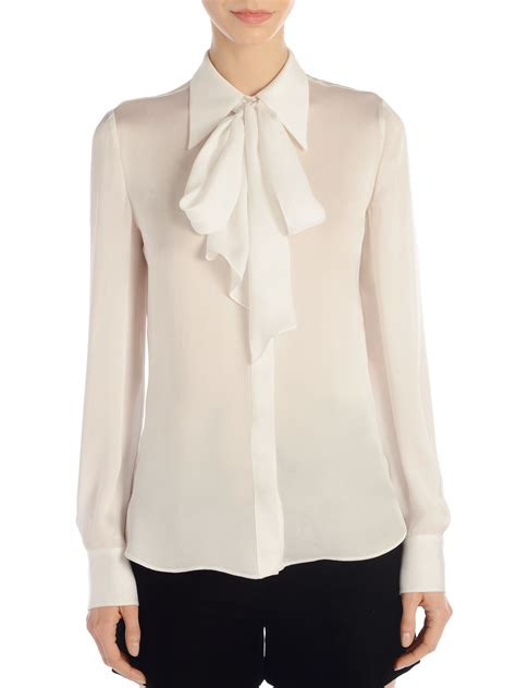 tie blouse emilio pucci tie front silk blouse in white lyst