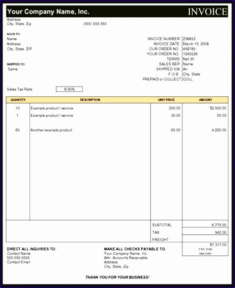 contractor invoice template excel exceltemplates