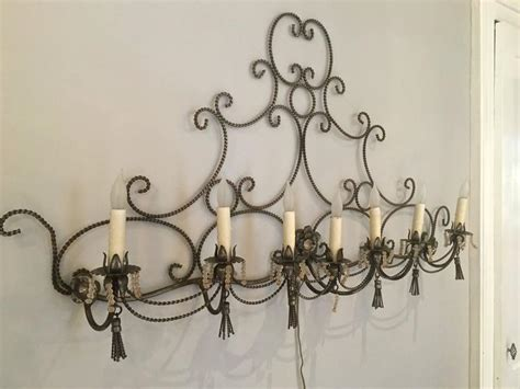 Long French Steel Six-light Wall Sconce With Tassels And