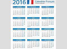French Calendar 2016 Calendrier Français 2016 Stock Vector