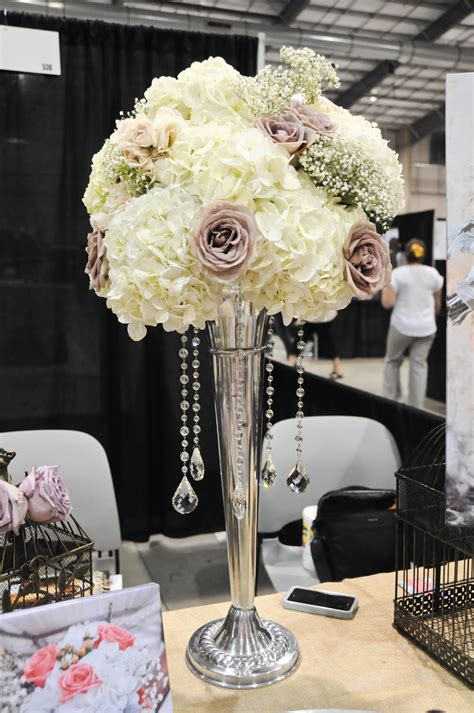 Tall Wedding Centerpiece With Crystals By