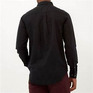 River Island | Black Linen Blend Long Sleeve Shirt for Men ...