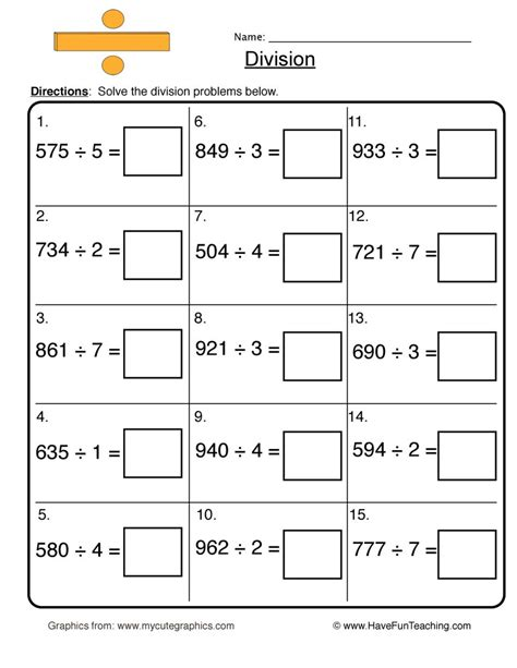 Division Worksheets  Have Fun Teaching