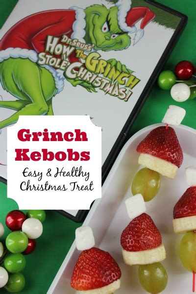 kids healthy christmas treat recipe grinch kebobs