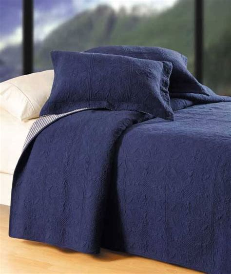 Navy Blue Quilted Coverlet by Indigo Navy Matelasse Tile Quilt By C F