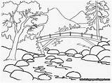 Mountain Scene Drawing Coloring Printable Pages Getdrawings sketch template