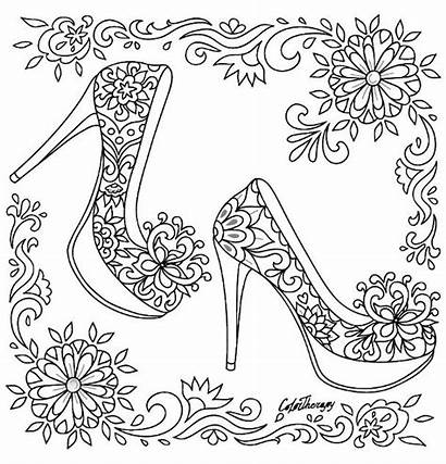 Coloring Pages Shoes Adult Heel Therapy Printable